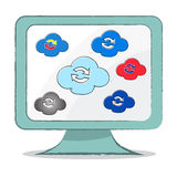 Cloud Sync icon on computer monitor - Vector Illustration Royalty Free Stock Image