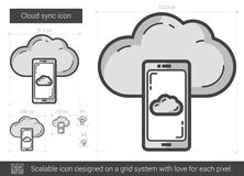 Cloud sync line icon. Stock Image