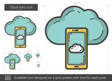 Cloud sync line icon. Royalty Free Stock Photo