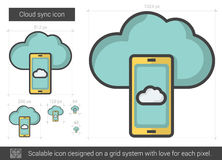 Cloud sync line icon. Royalty Free Stock Image
