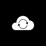 Cloud sync solid icon. Seo and development, network sign, a filled pattern on a black background, eps 10 Stock Photography