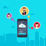 Cloud synchronization concept design. Flat  illustration of men and women in circle icons using smartphone. Mobile app for synchronizing data with cloud server Royalty Free Stock Images