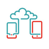 Cloud synchronization icon on smartphone vector illustration. Royalty Free Stock Images
