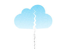 Cloud system breach. Cloud computing system broke down due to hacking Royalty Free Stock Photo