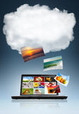 Cloud Technology. Conceptual image of cloud technology in storage and sharing of files stock photo
