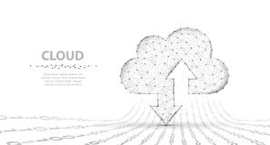 Cloud technology. Abstract polygonal wireframe cloud storage sign with two arrows up and down isolated on white with royalty free stock photo