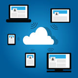 Cloud technology on blue gradient Royalty Free Stock Photo