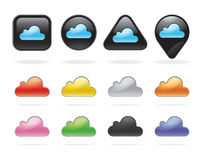Cloud technology buttons and icons set. Stock Images
