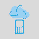 Cloud technology cellphone mobile media icon Royalty Free Stock Images