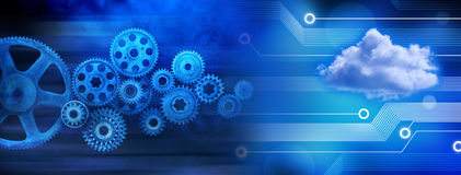 Cloud Technology Cogs Background Stock Images