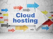Cloud technology concept: arrow with Cloud Hosting on grunge wall background. Cloud technology concept:  arrow with Cloud Hosting on grunge textured concrete Stock Photos