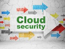 Cloud technology concept: arrow with Cloud Security on grunge wall background. Cloud technology concept:  arrow with Cloud Security on grunge textured concrete Stock Photos