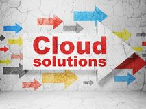 Cloud technology concept: arrow with Cloud Solutions on grunge wall background. Cloud technology concept:  arrow with Cloud Solutions on grunge textured concrete Stock Images