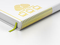 Cloud technology concept: closed book, Cloud Network on white background Stock Photography