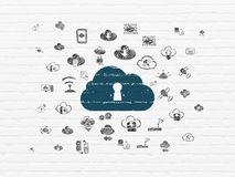 Cloud technology concept: Cloud With Keyhole on wall background Royalty Free Stock Image