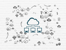 Cloud technology concept: Cloud Network on wall Royalty Free Stock Photography