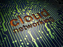 Cloud technology concept: Cloud Networking on circuit board background Stock Images