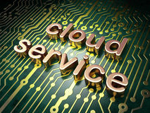 Cloud technology concept: Cloud Service on circuit board backgro Stock Image