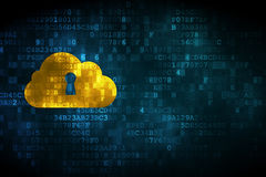 Cloud technology concept: Cloud Whis Keyhole on digital backgrou Stock Image