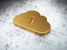 Cloud technology concept: Golden Cloud Whis Keyhole on digital b Stock Image