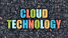 Cloud Technology Concept. Multicolor on Dark Brickwall. Stock Image