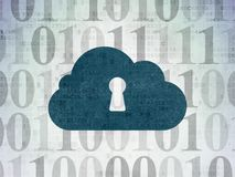 Cloud technology concept: Cloud With Keyhole on Digital Data Paper background Stock Photo