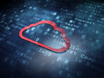 Cloud technology concept: Red Cloud on digital background Royalty Free Stock Images