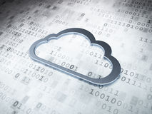 Cloud technology concept: Silver Cloud on digital. Background, 3d render royalty free stock photography