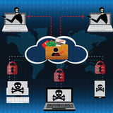 Cloud technology concept,unsafe from hacker who lurk for stole p Stock Photography