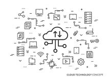 Cloud technology concept. Web cloud storage vector illustration. Web cloud technology graphic design. Remote file storage creative concept. Line data storage Stock Images