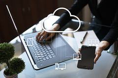 Cloud technology. Data storage. Networking and internet service concept.  Royalty Free Stock Photos
