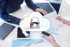 Cloud technology. Data storage. Networking and internet service concept.  Royalty Free Stock Images