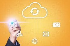 Cloud technology. Data storage. Networking and internet service concept. Cloud technology. Data storage. Networking and internet service concept Royalty Free Stock Photography