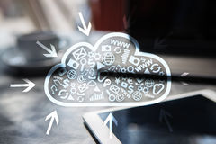 Cloud technology. Data storage. Networking and internet service concept Royalty Free Stock Image