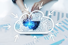 Cloud technology. Data storage. Networking and internet service concept Stock Photography