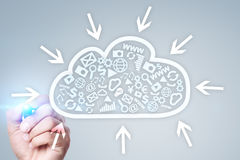 Cloud technology. Data storage. Networking and internet service concept. Stock Image