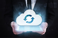 Cloud technology. Data storage. Networking and internet service concept. Stock Photos