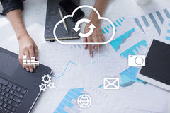 Cloud technology. Data storage. Networking and internet service concept. Royalty Free Stock Photo