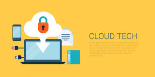 Cloud technology data upload flat vector infographics banner. Flat style website slider banner cloud technology concept web infographics vector illustration Stock Photos