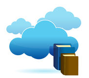 Cloud technology database. As stack of books Stock Photography