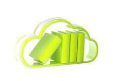 Cloud technology database icon isolated. Cloud technology database as stack of books boxes inside cloud icon emblem isolated on white Royalty Free Stock Photos