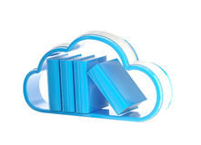 Cloud technology database icon isolated. Cloud technology database as stack of books boxes inside cloud icon emblem isolated on white Stock Photos