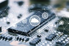 Cloud. Technology digital platform security application hub Stock Images