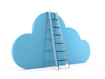 Cloud Technology. Download and sync concept, cloud technology with blue cloud and ladder, isolated on white background Royalty Free Stock Photo