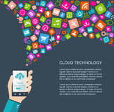 Cloud technology flat illustration Stock Photo