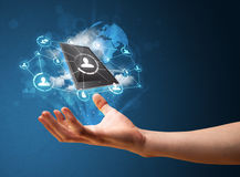Cloud technology in the hand of a businessman. Businessman presenting cloud technology in his palm Stock Photo