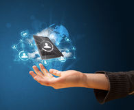 Cloud technology in the hand of a woman. Young businesswoman presenting cloud technology in her hand Stock Photos
