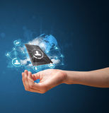 Cloud technology in the hand of a woman. Young businesswoman presenting cloud technology in her hand Royalty Free Stock Photos