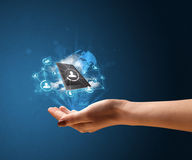 Cloud technology in the hand of a woman. Young businesswoman presenting cloud technology in her hand Royalty Free Stock Image