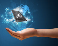 Cloud technology in the hand of a woman. Young businesswoman presenting cloud technology in her hand Stock Photography